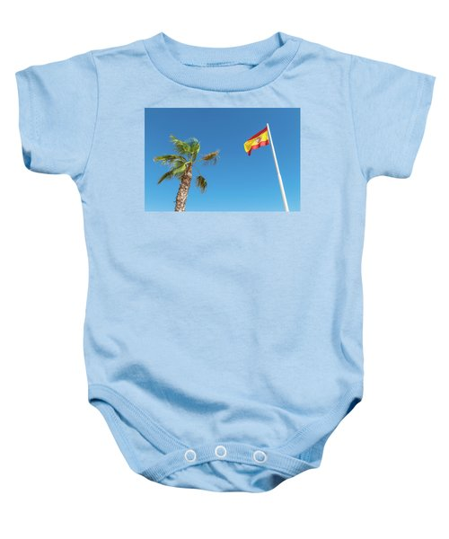 Spanish Flag And Palm Tree In The Blue Sky Baby Onesie