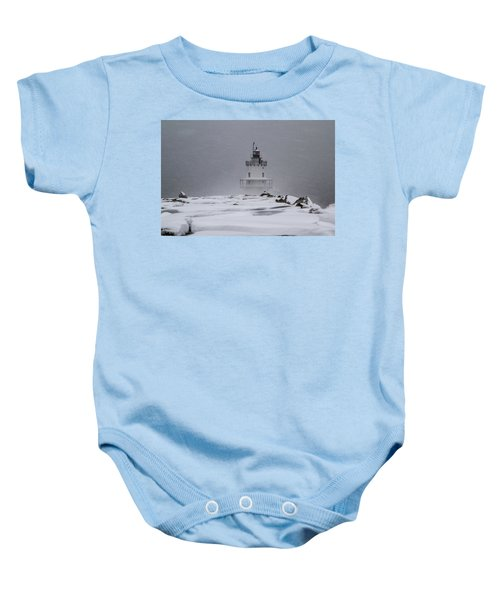 Spring Point Ledge Lighthouse Blizzard Baby Onesie