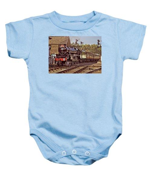 Steam Loco On Yorkshire Railway Baby Onesie