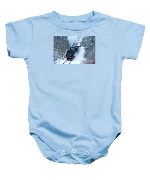 Steam Locomotive 73129 In Snow Baby Onesie
