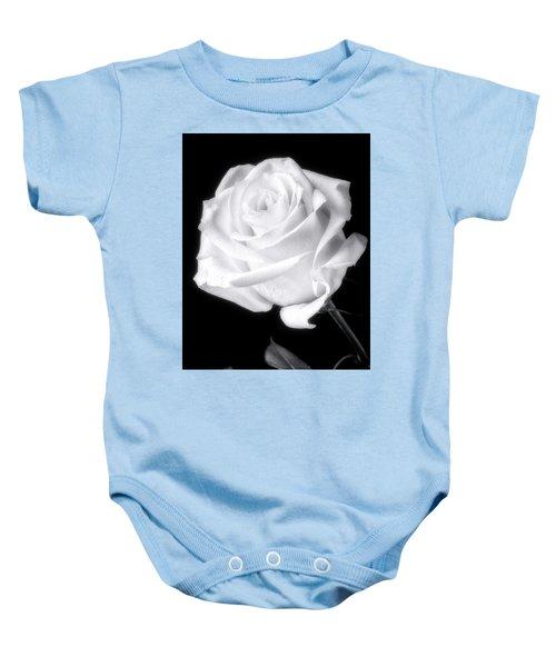 Stunning White Rose In Black And White Baby Onesie