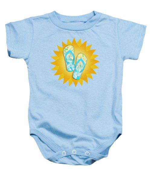 Summer Sunshine And Blue Flip-flops Baby Onesie