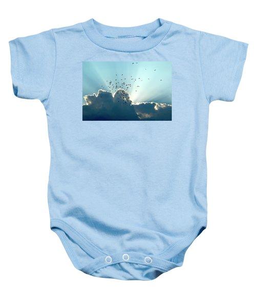 Sun Ray Aerobatics Blue Sky Baby Onesie