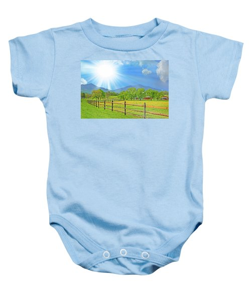 Sunburst Over Peaks Of Otter, Virginia Baby Onesie