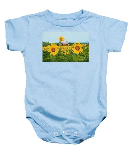 Sunflowers On Route 45 - Pennsylvania- Autumn Glow Baby Onesie
