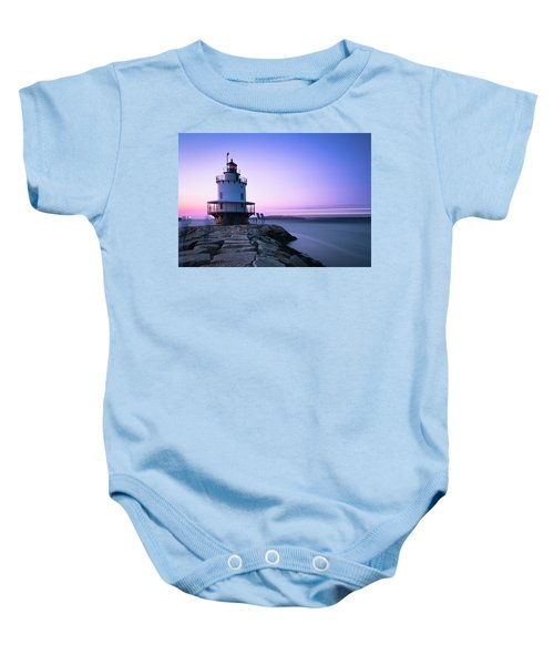 Sunset Over Spring Breakwater Lighthouse In South Maine Baby Onesie
