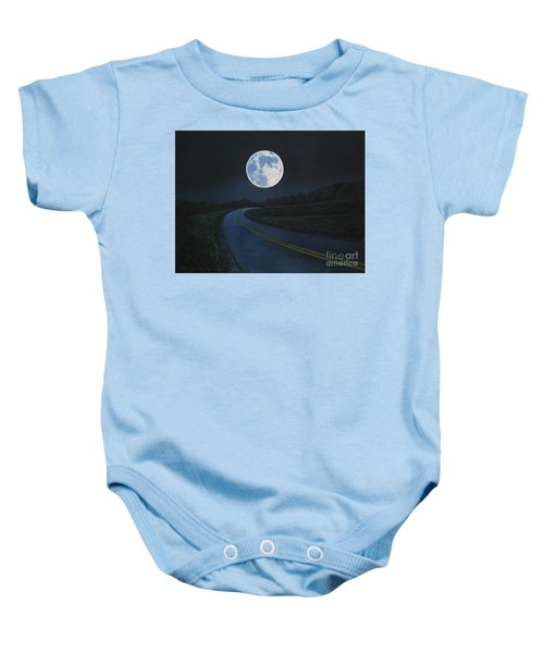 Super Moon At The End Of The Road Baby Onesie
