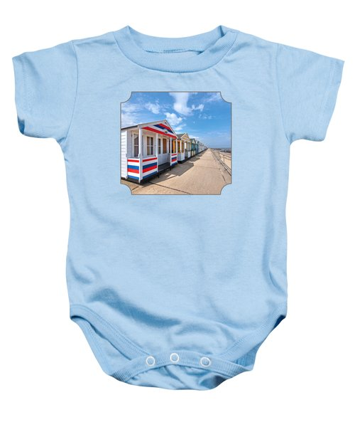 Surf's Up - Colorful Beach Huts - Square Baby Onesie