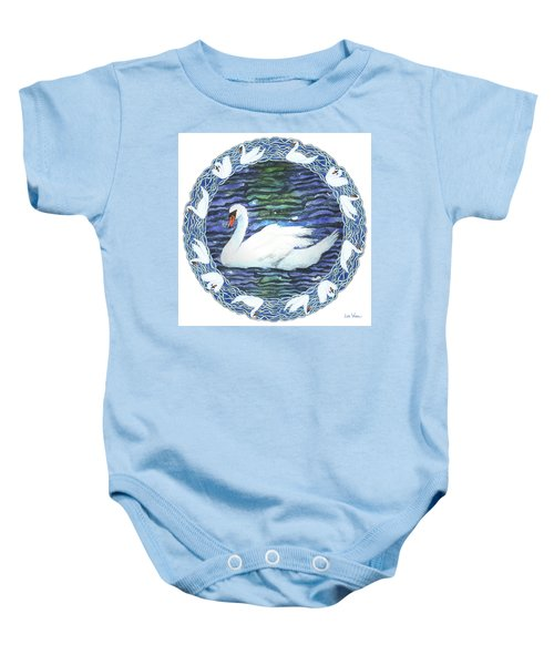 Swan With Knotted Border Baby Onesie