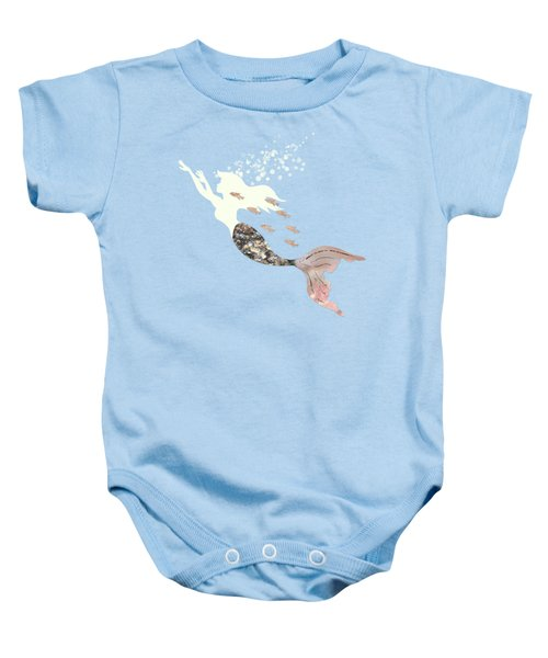 Swimming With The Fishes A White Mermaid Racing Rose Gold Fish Baby Onesie by Tina Lavoie