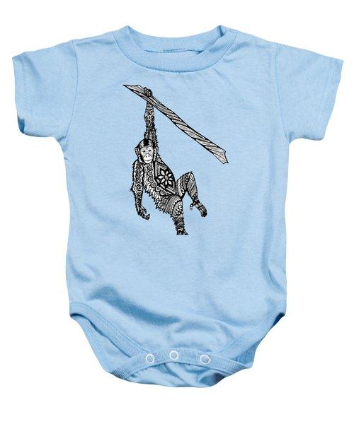 Swinging Chimpanzee Zentangle Baby Onesie by Kylee S