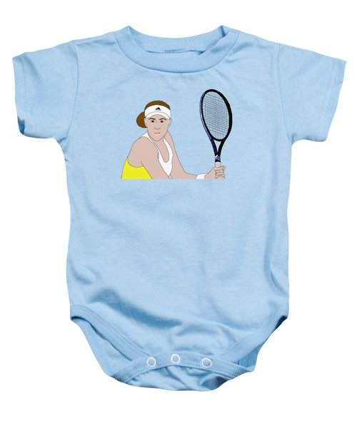 Tennis Player Baby Onesie by Priscilla Wolfe