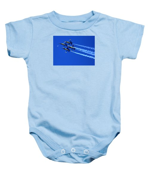 Thanks Goodness For That Fourth Dimension As A Boeing 767 Transitions Above The Box. Baby Onesie