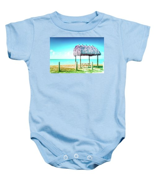 Thatched Roof Hut On Beach Baby Onesie