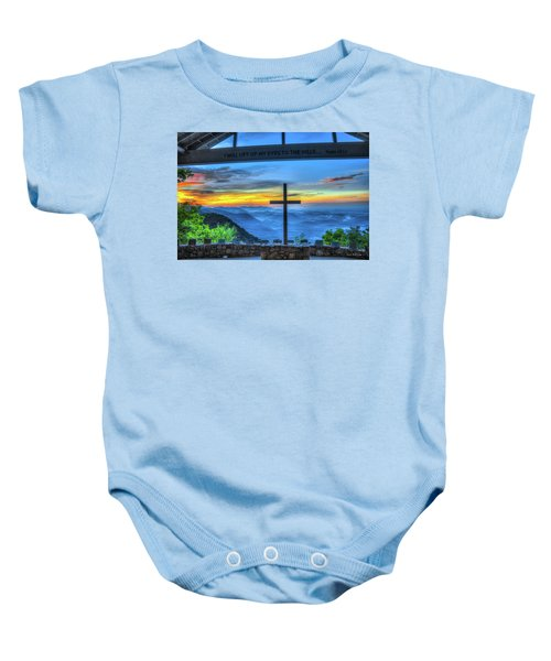 The Cross Sunrise At Pretty Place Chapel Baby Onesie