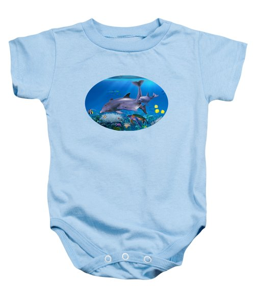 The Dolphin Family Baby Onesie by Glenn Holbrook