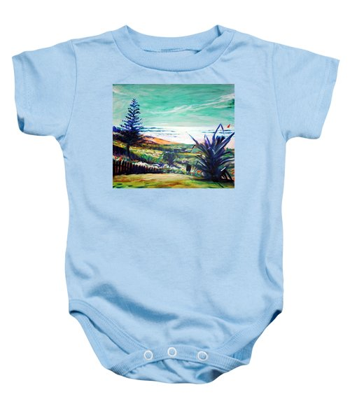 Baby Onesie featuring the painting The Lawn Pandanus by Winsome Gunning