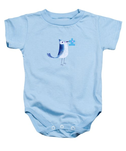 The Letter Blue J Baby Onesie by Valerie Drake Lesiak