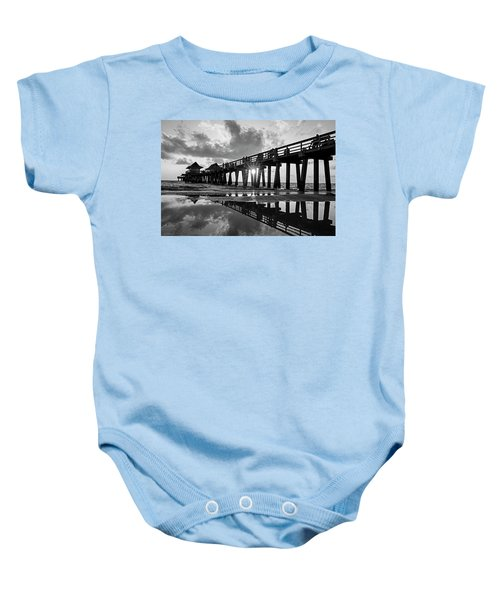 Naples Pier At Sunset Naples Florida Black And White Baby Onesie