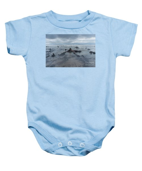 The Tide Comes In Over The Bronze Age Sunken Forest At Borth On The West Wales Coast Uk Baby Onesie