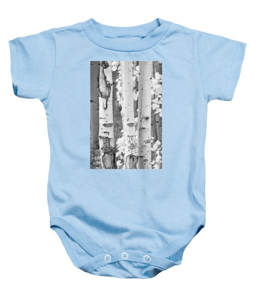 Three Aspens In Black And White  Baby Onesie