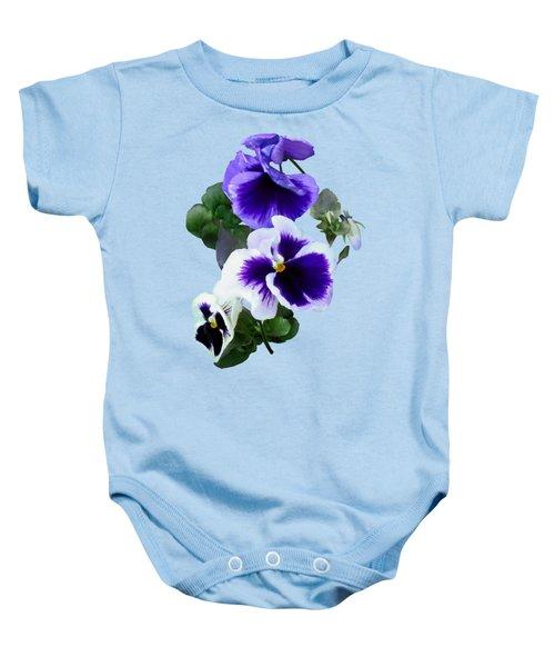 Three Purple Pansies In A Row Baby Onesie