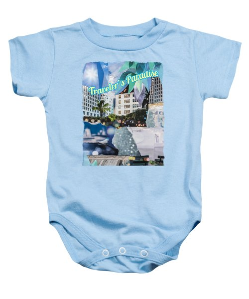Traveler's Paradise - Torn Paper Graphic Art Collage Baby Onesie