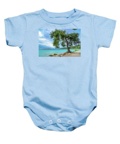 Tree On Northern Dalmatian Coast Beach, Croatia Baby Onesie
