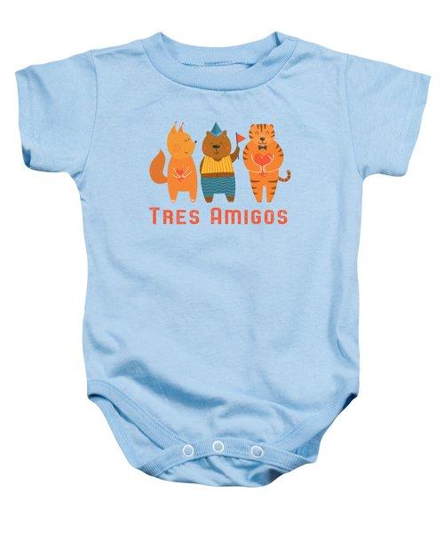 Tres Amigos Cute Animals Tee Baby Onesie