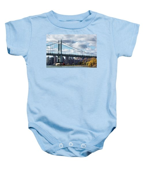 Triboro Bridge In Autumn Baby Onesie