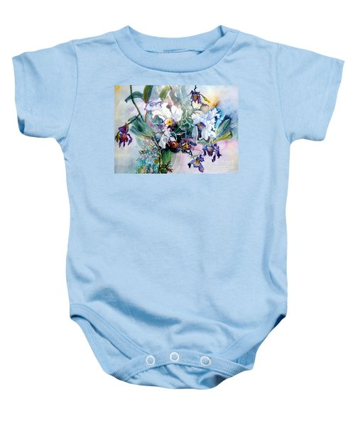 Tropical White Orchids Baby Onesie