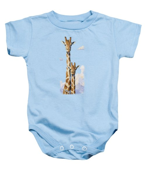 Two Heads In The Clouds Baby Onesie by Lucie Bilodeau