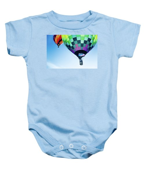 Two Hot Air Balloons Ascending Baby Onesie