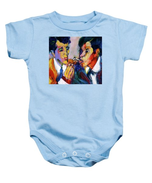 Two Men On A Match Baby Onesie