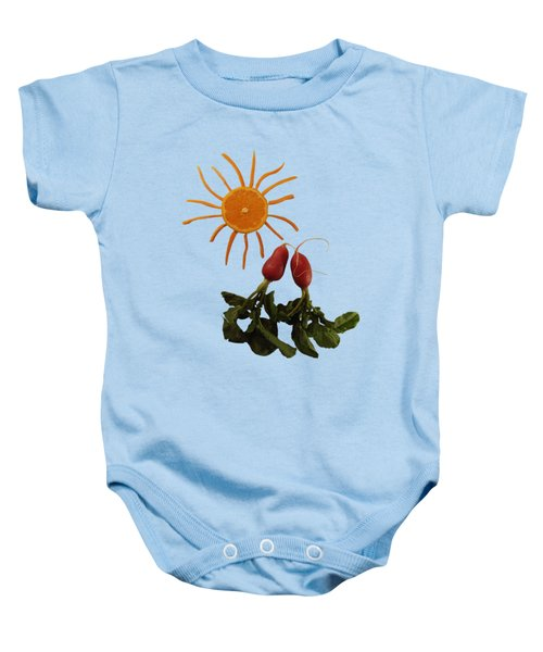 Under A Tangerine Sun - On Blue Baby Onesie