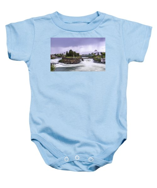 Upper Spokane Falls On A Rainy Day Baby Onesie