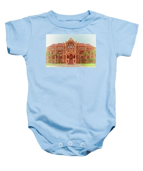 Vintage Architectural Photograph Of Ashbel Smith Old Red Building At Utmb - Downtown Galveston Texas Baby Onesie