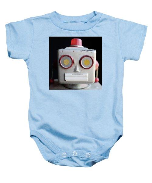 Vintage Robot Square Baby Onesie