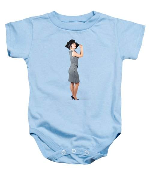 Baby Onesie featuring the photograph Vintage Summer Clothes Woman. Full Length Portrait by Jorgo Photography - Wall Art Gallery