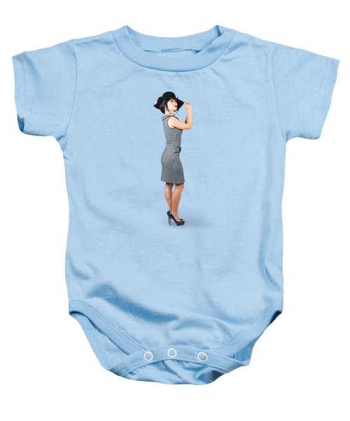 Vintage Summer Clothes Woman. Full Length Portrait Baby Onesie