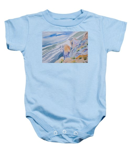 Watercolor - Mountain Goats On Quandary Baby Onesie