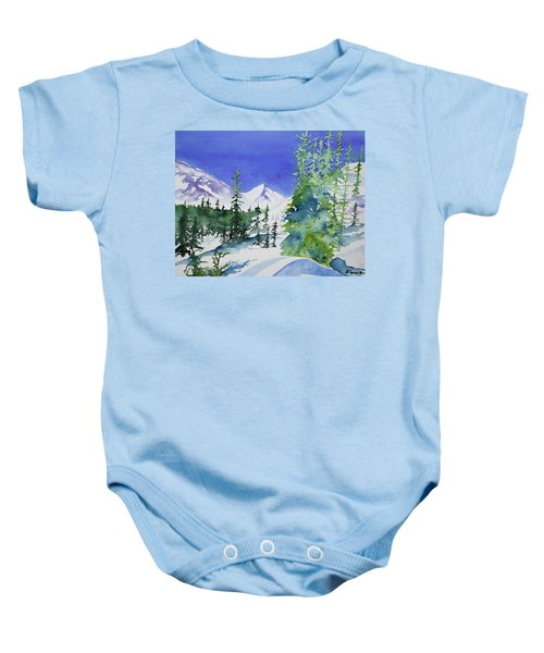 Watercolor - Sunny Winter Day In The Mountains Baby Onesie