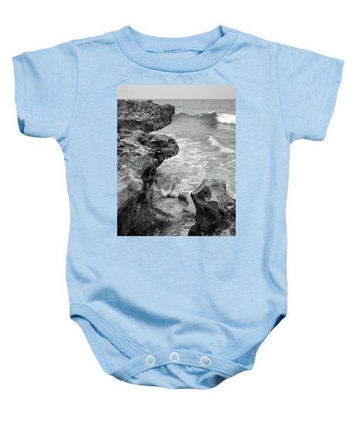 Waves And Coquina Rocks, Jupiter, Florida #39358-bw Baby Onesie