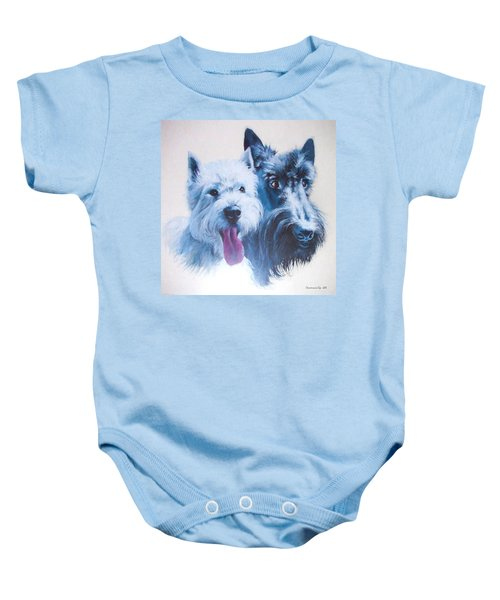 Baby Onesie featuring the digital art Westie And Scotty Dogs by Charmaine Zoe