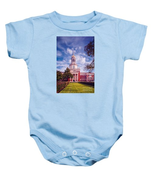 Whimsical Clouds Behind Pat Neff Hall - Baylor University - Waco Texas Baby Onesie