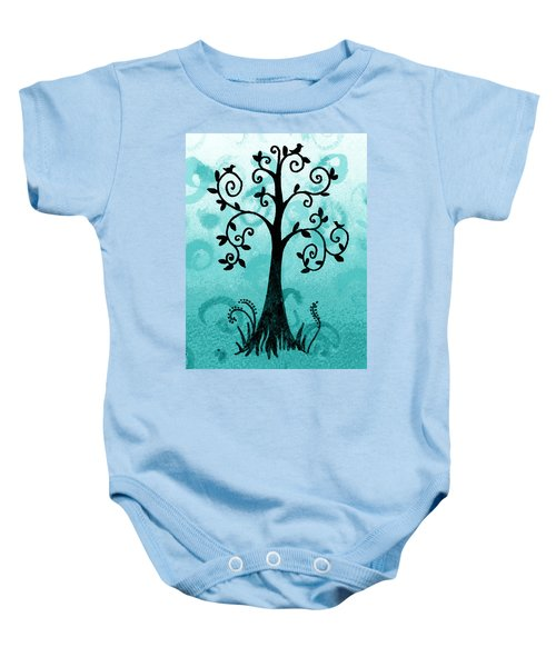 Whimsical Tree With Birds Baby Onesie