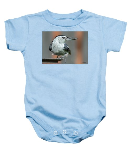 White-breasted Nuthatch With Sunflower Seed Baby Onesie