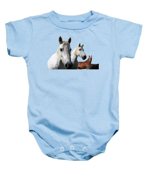 White Camargue Horses Baby Onesie