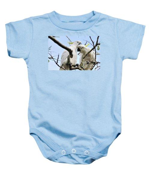 White Cockatoos Baby Onesie by Kaye Menner