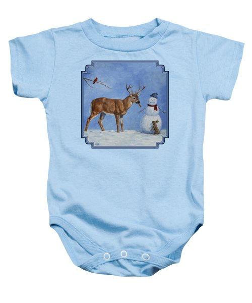 Whitetail Deer And Snowman - Whose Carrot? Baby Onesie by Crista Forest